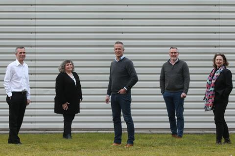 L to r: Kevin Smithson, Linda Brown, Mark Chance, Simon Stoten and Lisa Mullen from Border Biscuits