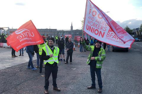 Workers on strike at the Hovis site in Belfast