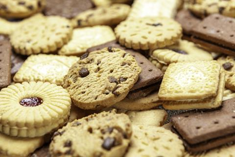 A selection of biscuits including custard creams