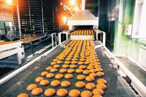 Biscuits on a production line